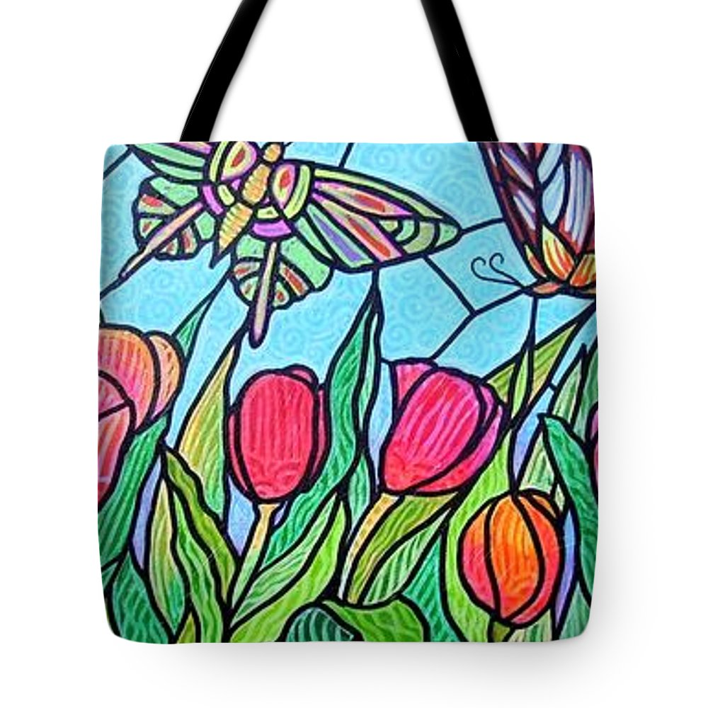 Spring Tote Bag featuring the painting Tulips And Butterflies by Jim Harris