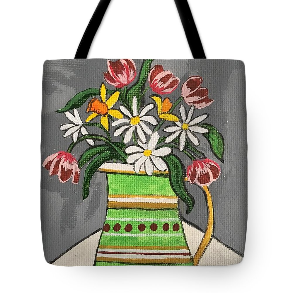 Flowers Tote Bag featuring the painting Tulips And Daisies by Lindsay Smith