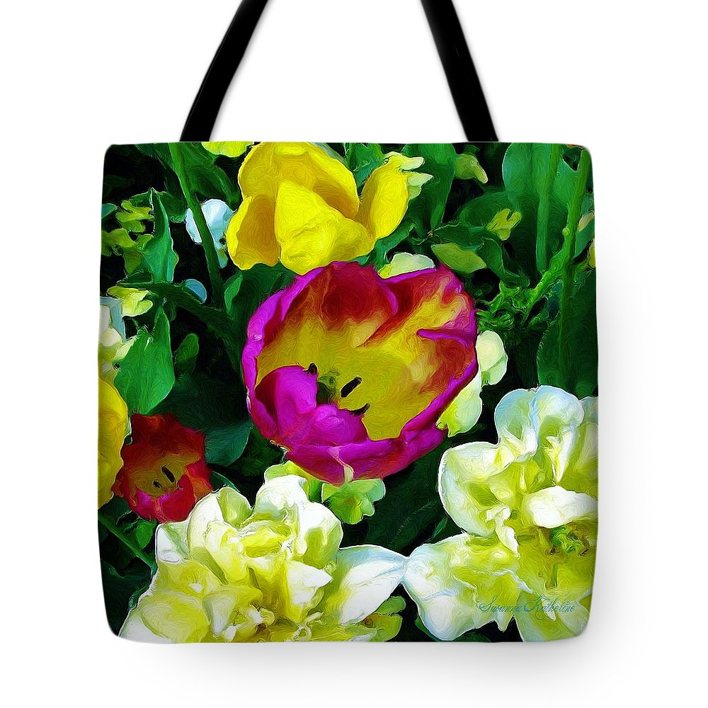 Flowers Tote Bag featuring the painting Tulips And Flowers by Susanna Katherine