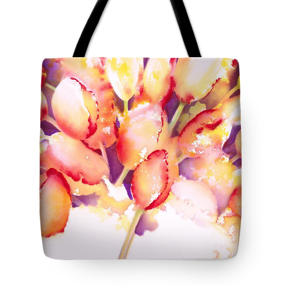 Flower Tote Bag featuring the painting Tulips Are People Iv by Jerome Lawrence