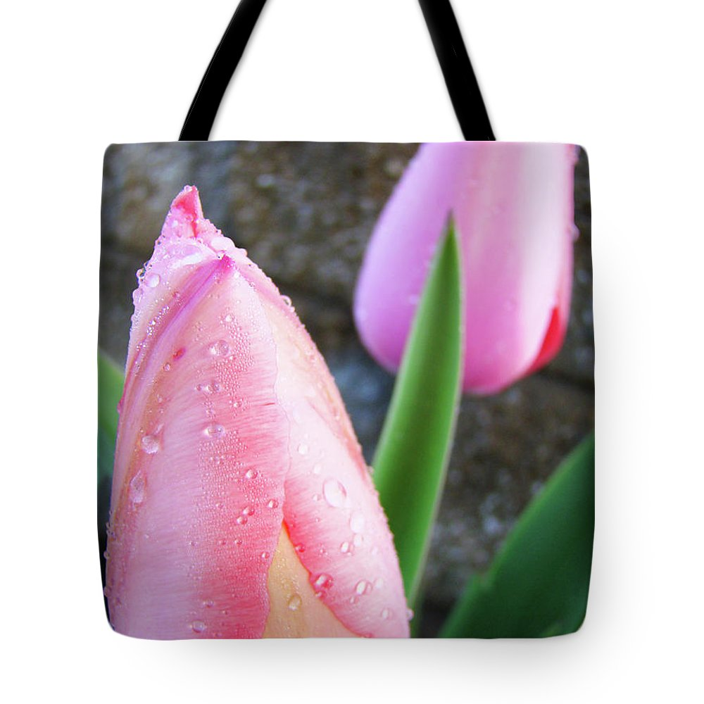 �tulips Artwork� Tote Bag featuring the photograph Tulips Artwork Pink Tulip Flowers Srping Florals Art Prints Baslee Troutman by Baslee Troutman