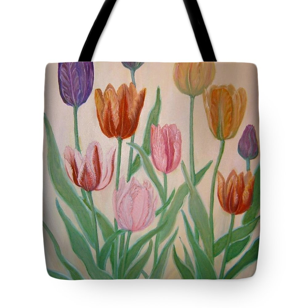 Flowers Of Spring Tote Bag featuring the painting Tulips by Ben Kiger