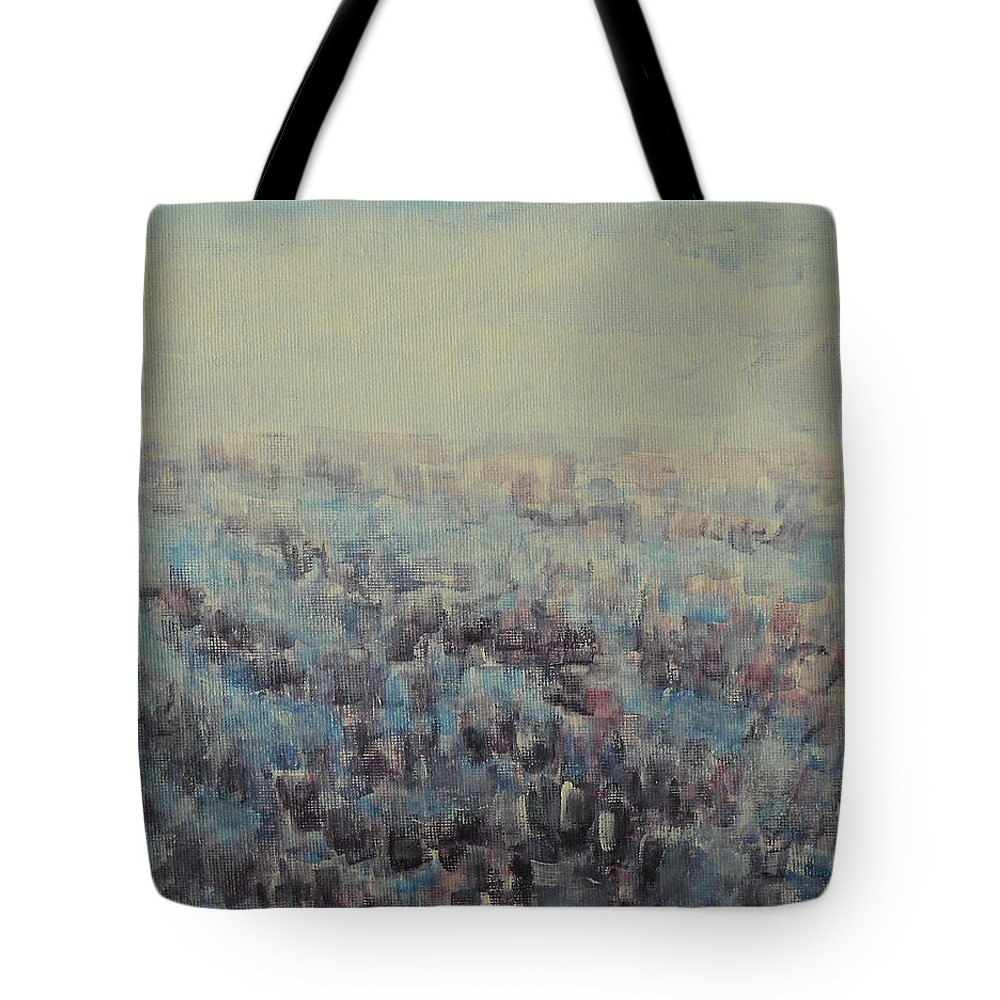 Abstract Tote Bag featuring the painting Tulips Dance Abstract 3 by Jane See