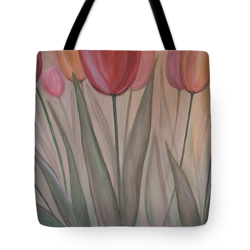 Tulips Tote Bag featuring the painting Tulips For Carol by Anita Burgermeister