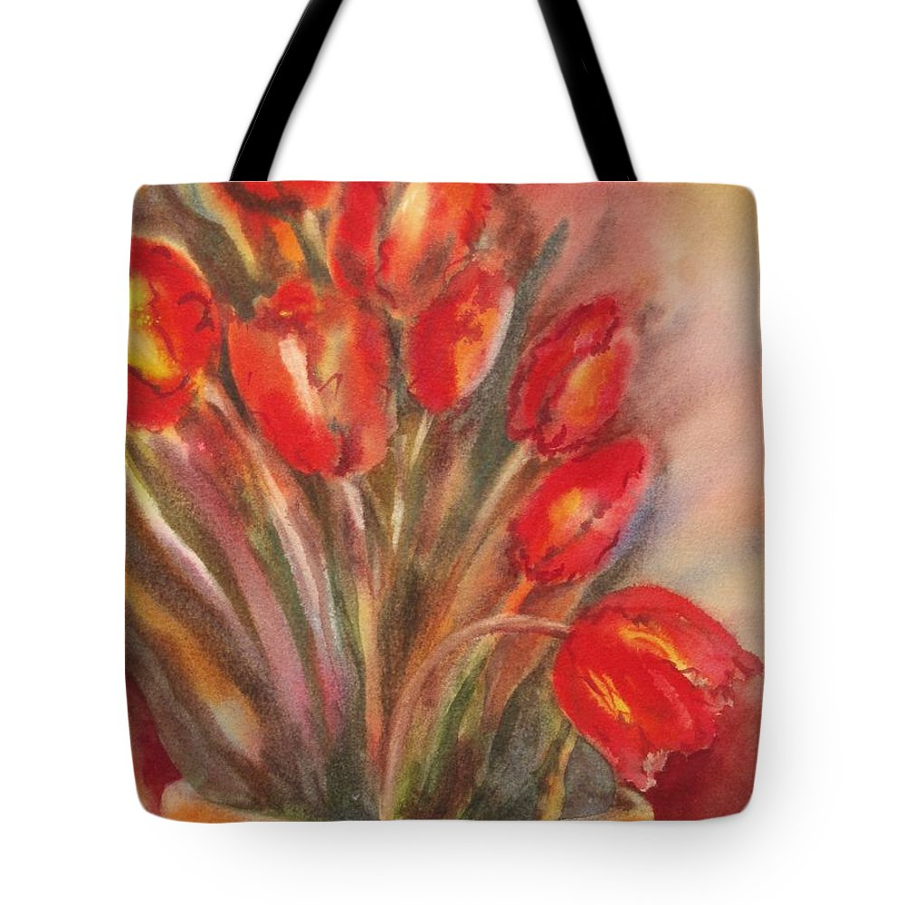 Tulips Tote Bag featuring the painting Tulips For David by Tara Moorman
