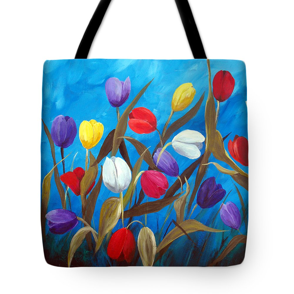 Tulips Tote Bag featuring the painting Tulips Galore II by Ruth Palmer