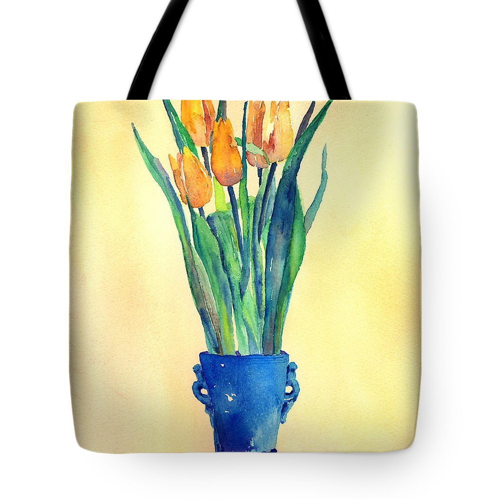 Tulip Tote Bag featuring the painting Tulips In A Vase by Arline Wagner