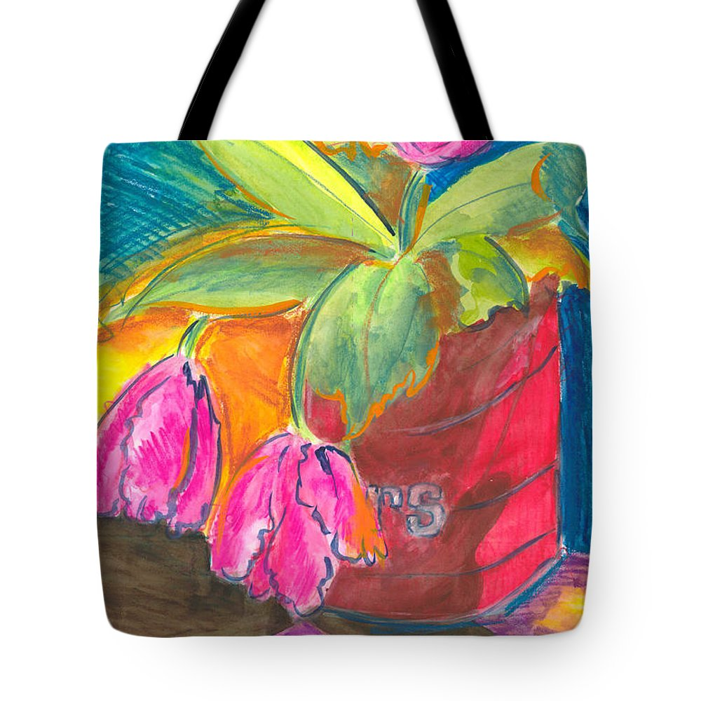 Flowers Tote Bag featuring the painting Tulips In Can by Jean Blackmer
