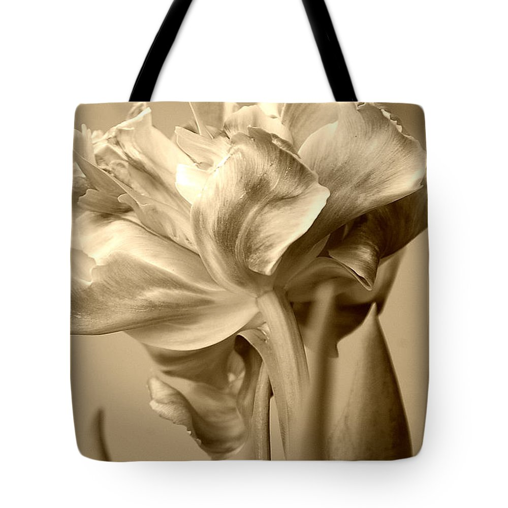 Tulips Tote Bag featuring the photograph Tulips In Sepia by Donna Bentley