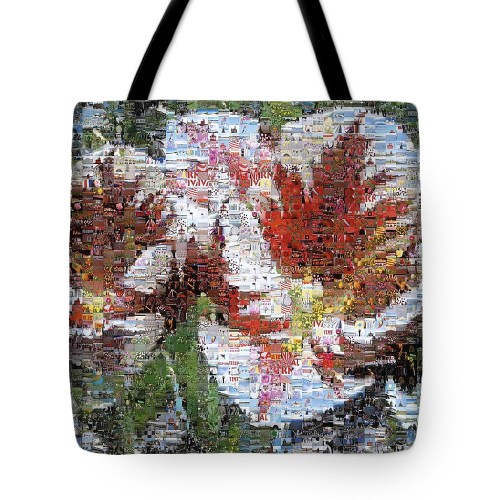Lighthouse Tote Bag featuring the photograph Tulips In Springtime Photomosaic by Michelle Calkins