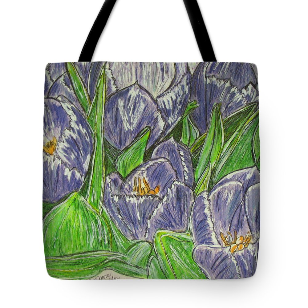 Tulips Tote Bag featuring the painting Tulips In The Spring by Kathy Marrs Chandler