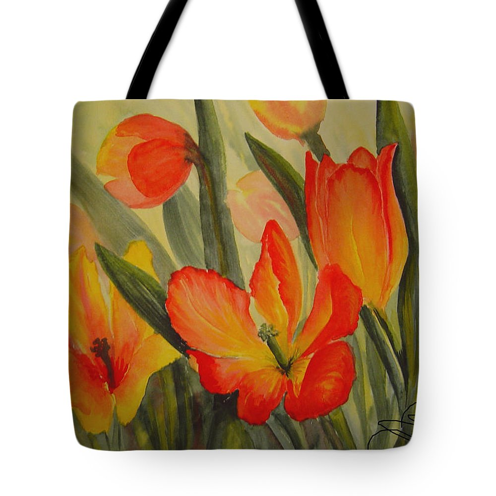 Spring Tulips Tote Bag featuring the painting Tulips by Joanne Smoley