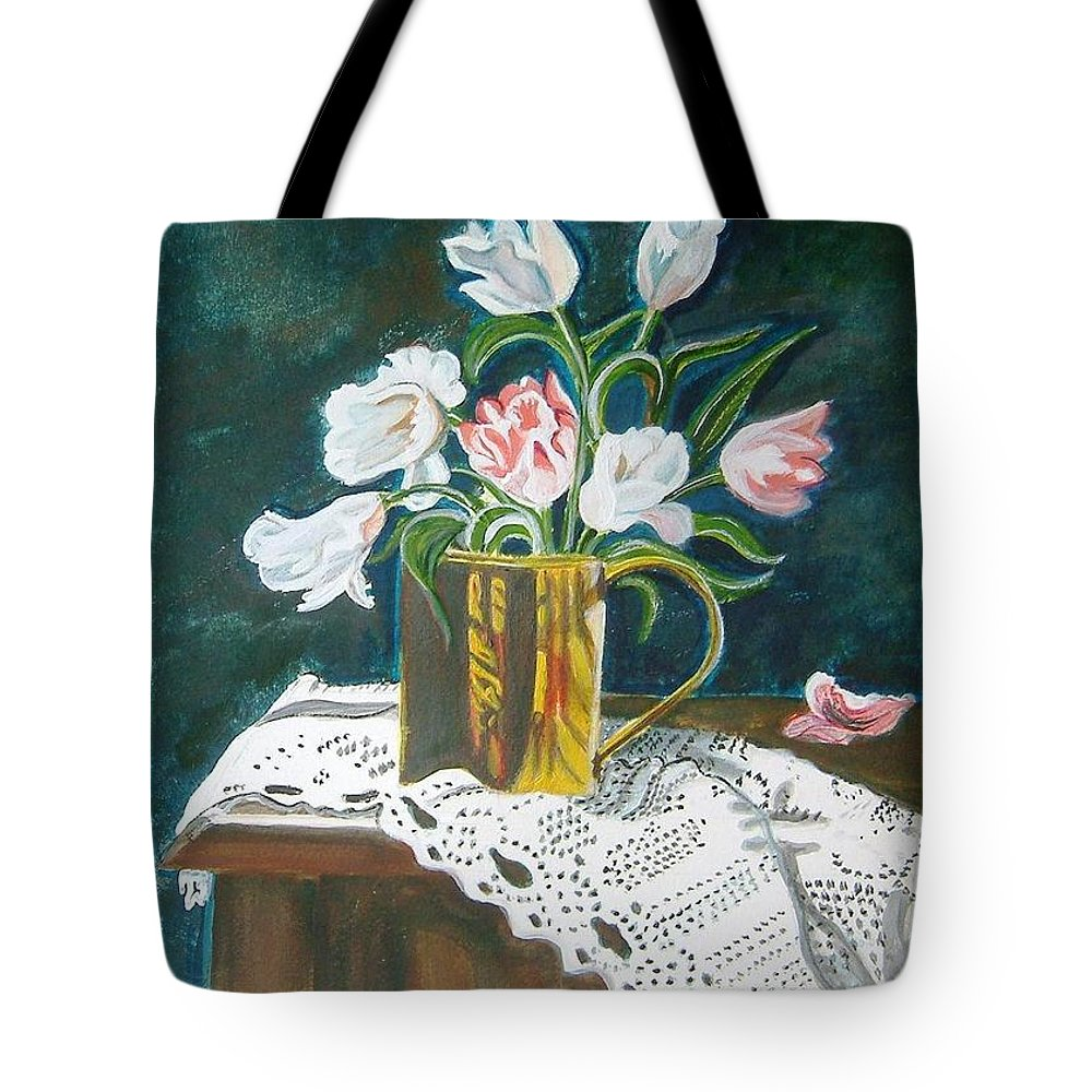 Tulips Tote Bag featuring the painting Tulips by Manjiri Kanvinde