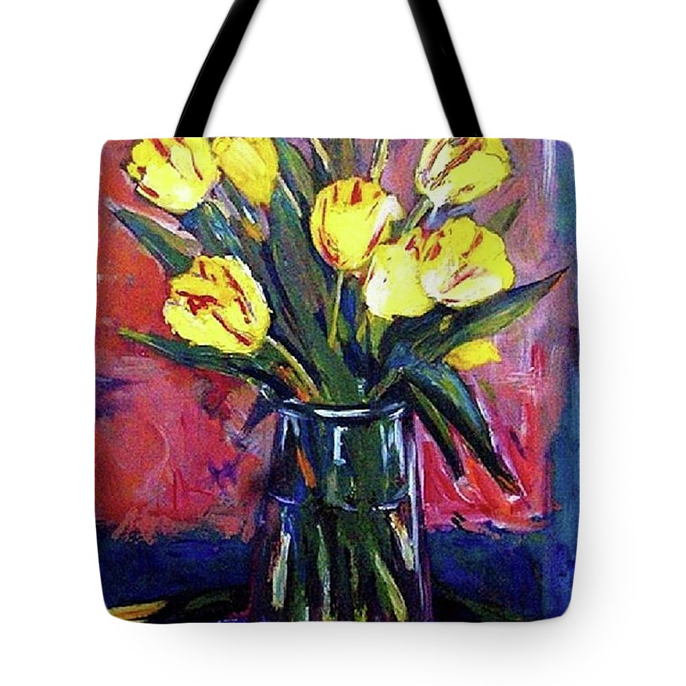 Flowers Tote Bag featuring the painting Tulips by Margaret Plumb