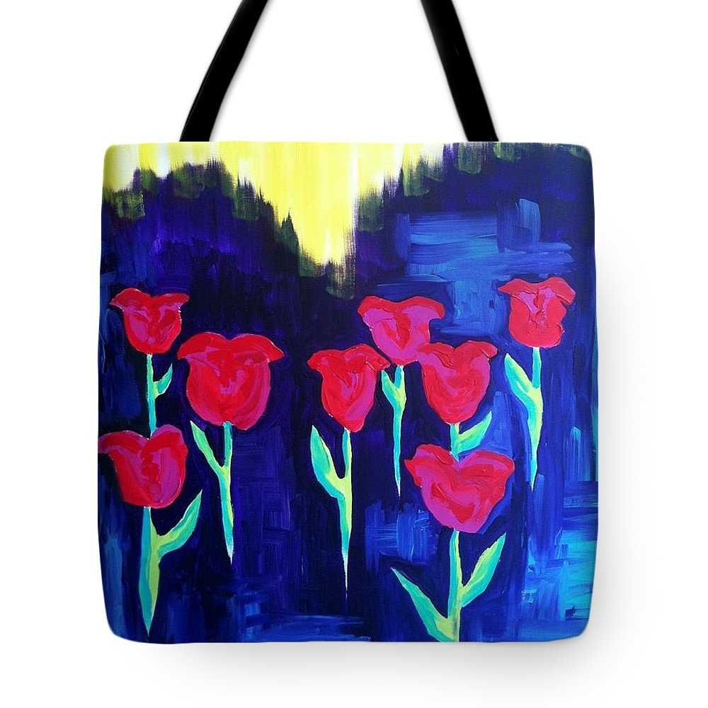 Tulips; Red And Pink Tulips With Green Stems; Purple Tote Bag featuring the painting Tulips Of My Heart by Meghan Gallagher