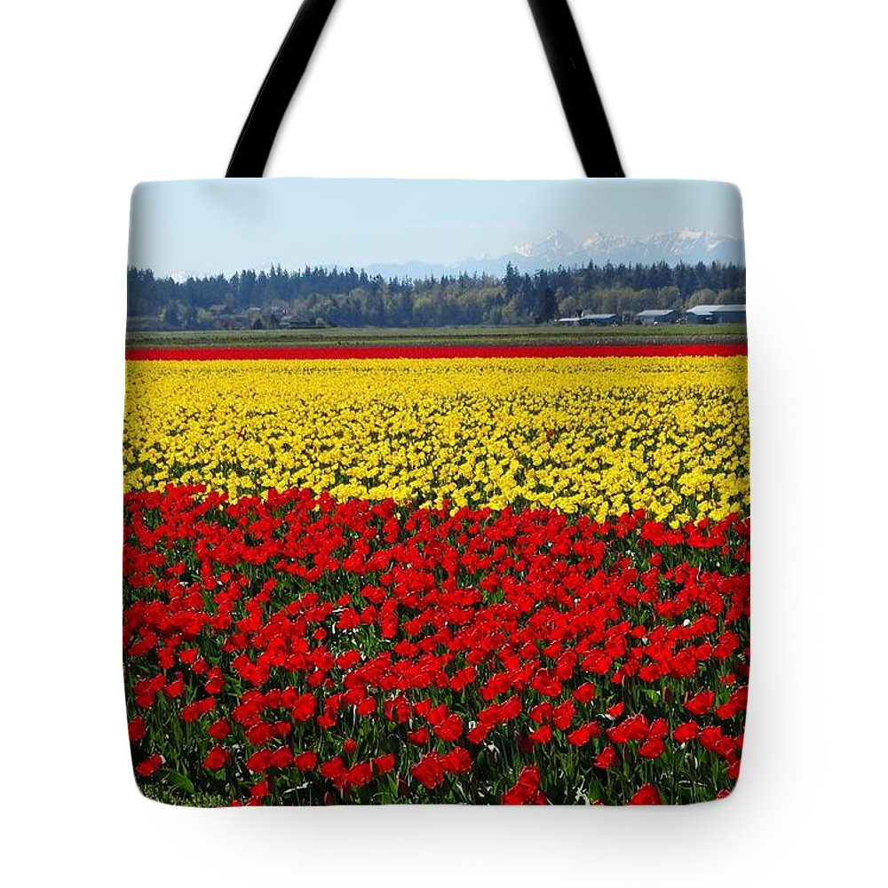 Tulips Tote Bag featuring the photograph Tulips Of The Skagit Valley by Sandra Peery