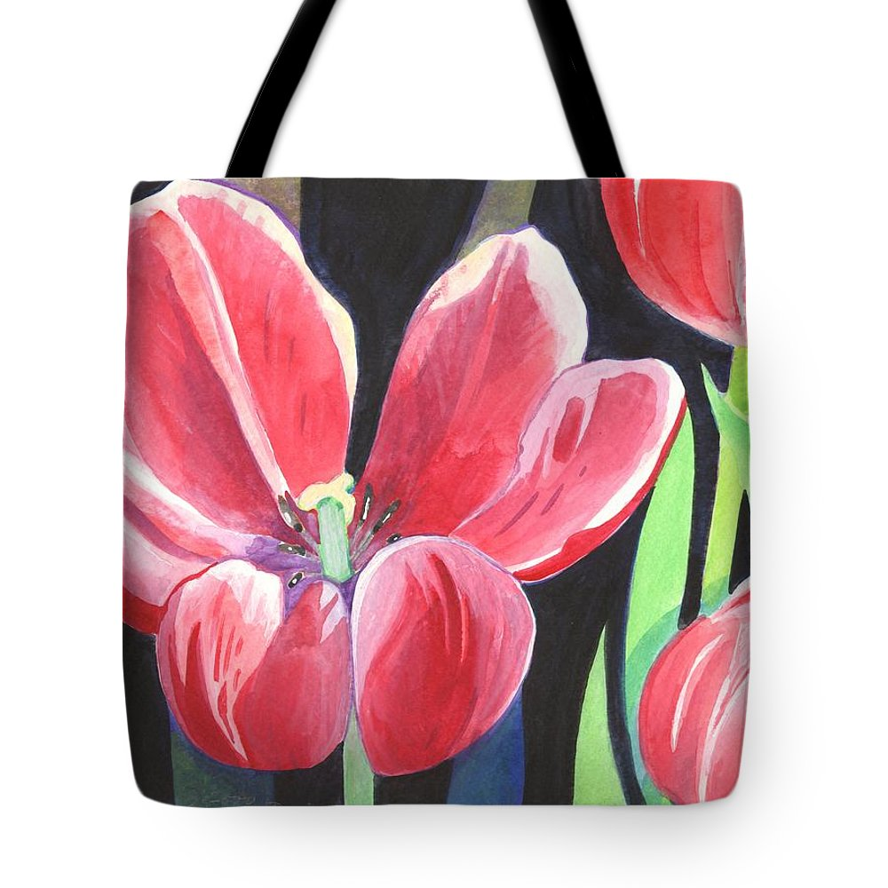 Flower Tote Bag featuring the painting Tulips On Black by Helena Tiainen