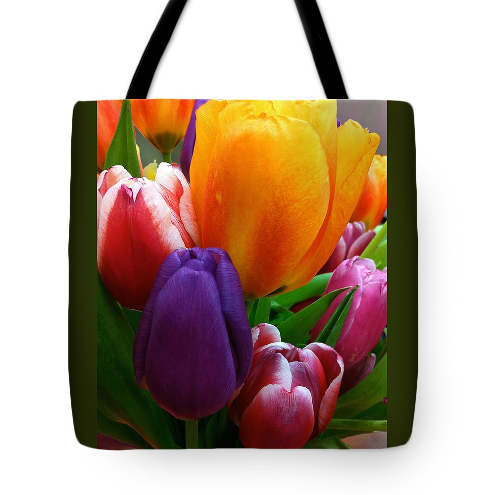 Tulips Tote Bag featuring the photograph Tulips Smiling by Marie Hicks
