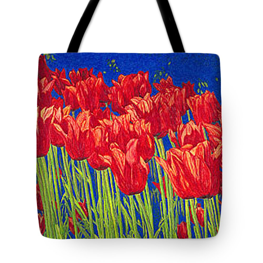 Tulips Tote Bag featuring the drawing Tulips Tulip Flowers Fine Art Print Giclee High Quality Exceptional Color Garden Nature Botanical by Baslee Troutman