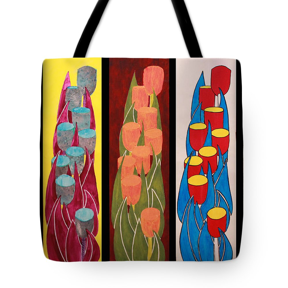 Pop Art Tote Bag featuring the painting Tulips Tulips Tulips Tulips Tulips by Ann Sokolovich