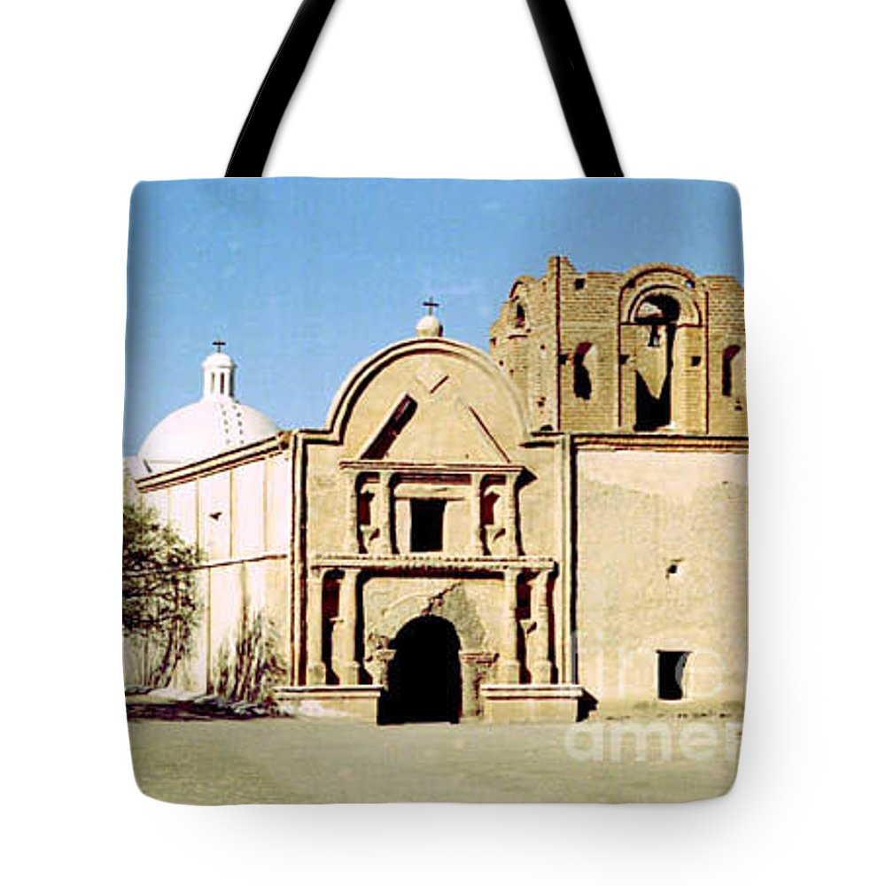 Mission Tote Bag featuring the photograph Tumacacori by Kathy McClure