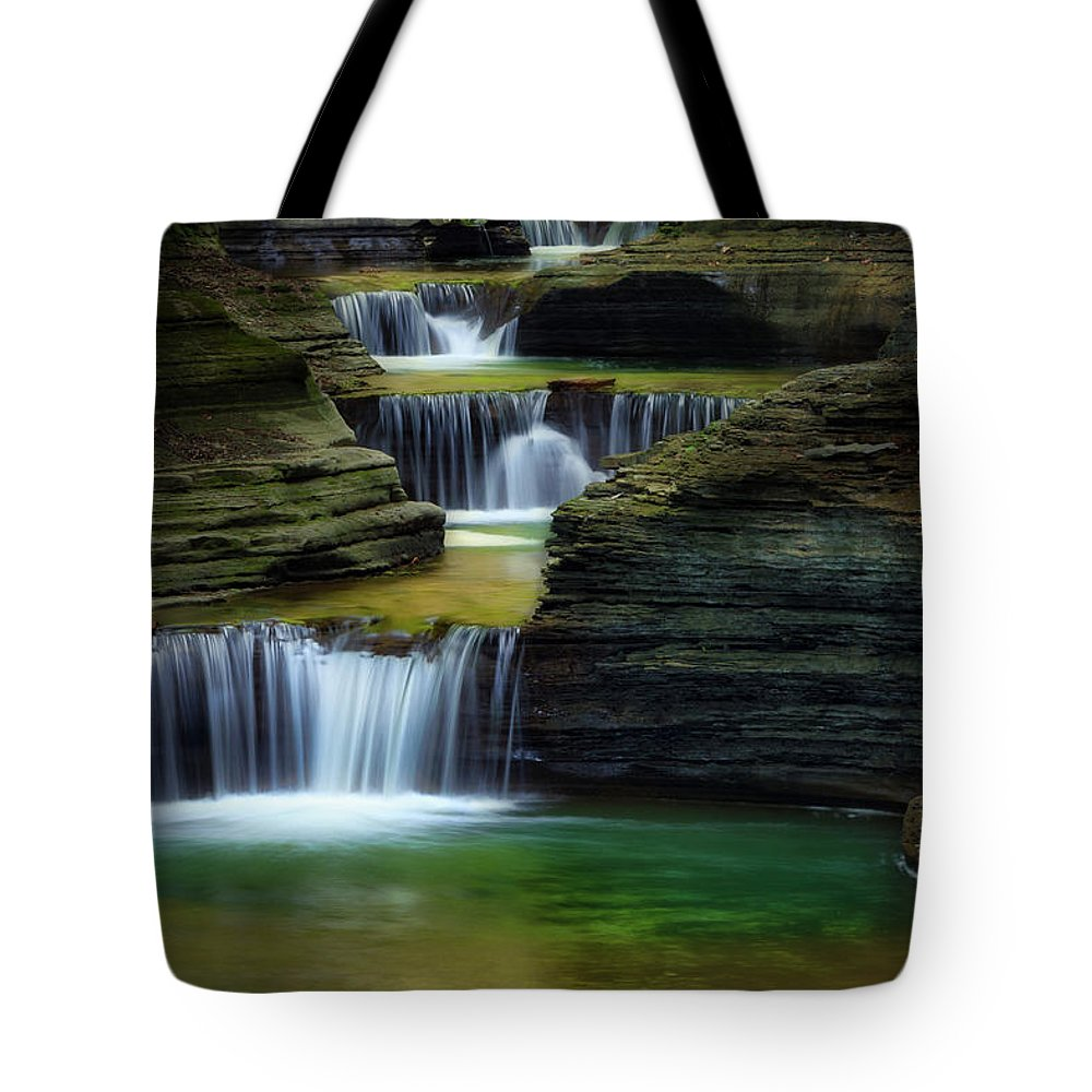 Watkins Glen Tote Bag featuring the photograph Tumblin Down by Bill Wakeley