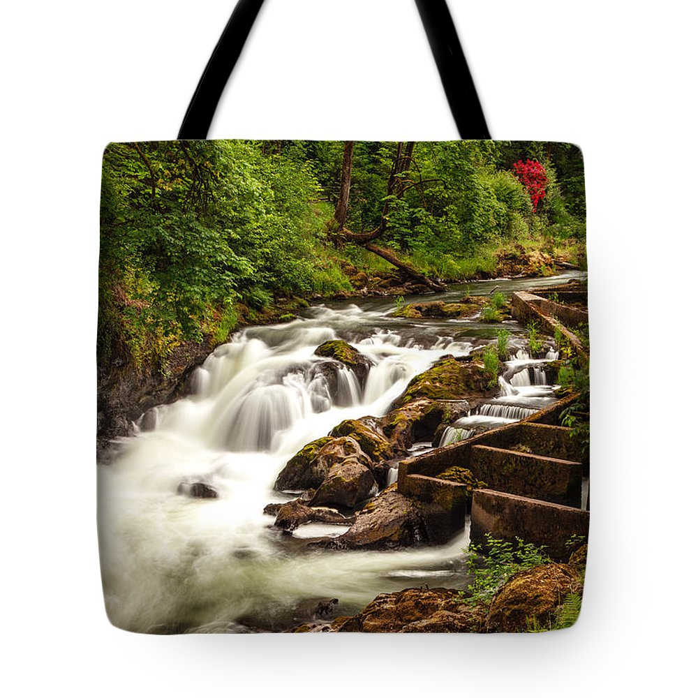Tumwater Tote Bag featuring the photograph Tumwater by Karma Boyer