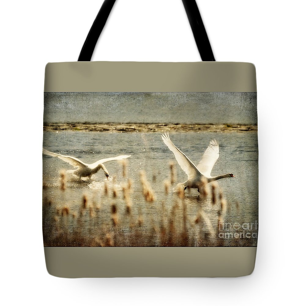 Swans Tote Bag featuring the photograph Turf Wars by Lois Bryan