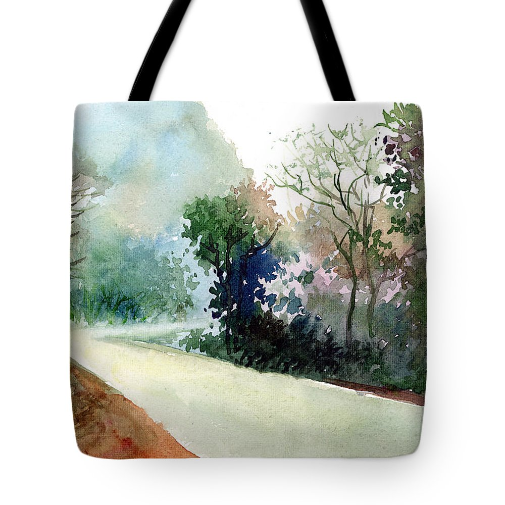 Landscape Water Color Nature Greenery Light Pathway Tote Bag featuring the painting Turn Right by Anil Nene