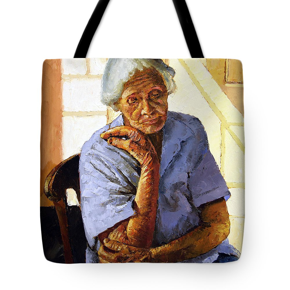 Old Woman Tote Bag featuring the painting Turning Inward by John Lautermilch