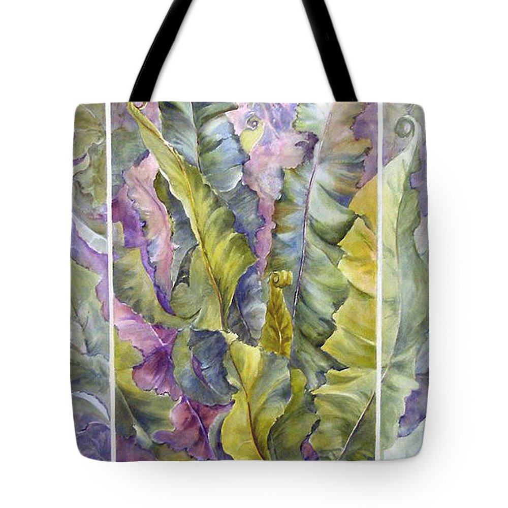 Ferns;floral; Tote Bag featuring the painting Turns Of Ferns by Lois Mountz