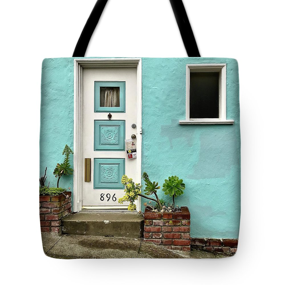 Tote Bag featuring the photograph Turquioise Wall by Julie Gebhardt