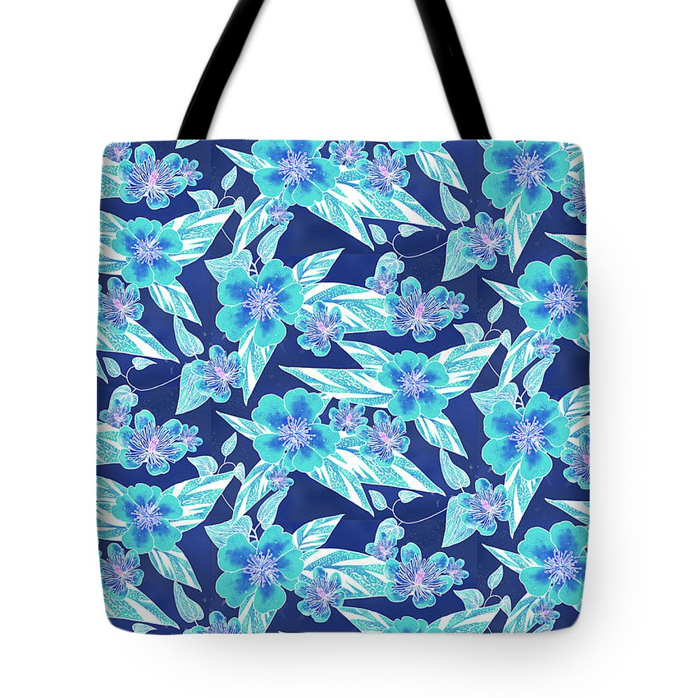 Batik Style Tote Bag featuring the digital art Turquoise Batik Ginger Small by Karen Dyson