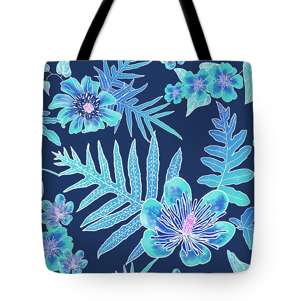 Indigo Tote Bag featuring the digital art Turquoise Batik - Laua'e 12 by Karen Dyson