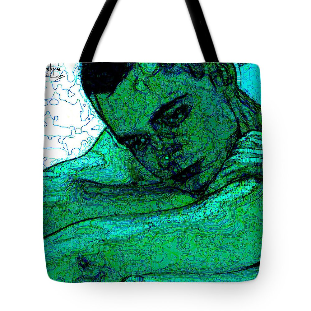 Abstract Tote Bag featuring the digital art Turquoise Man by Stephen Lucas