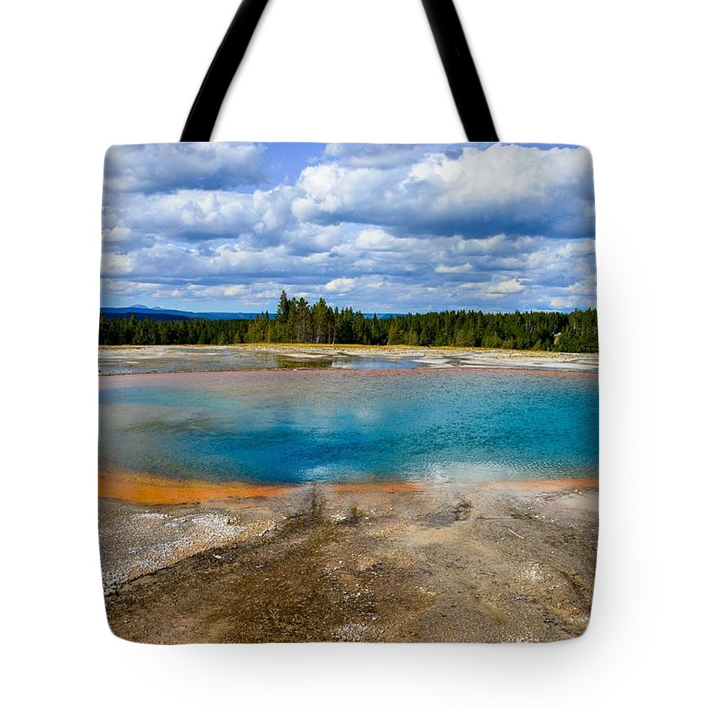 Yellowstone Tote Bag featuring the photograph Turquoise Pool, Yellowstone by Marilyn Burton
