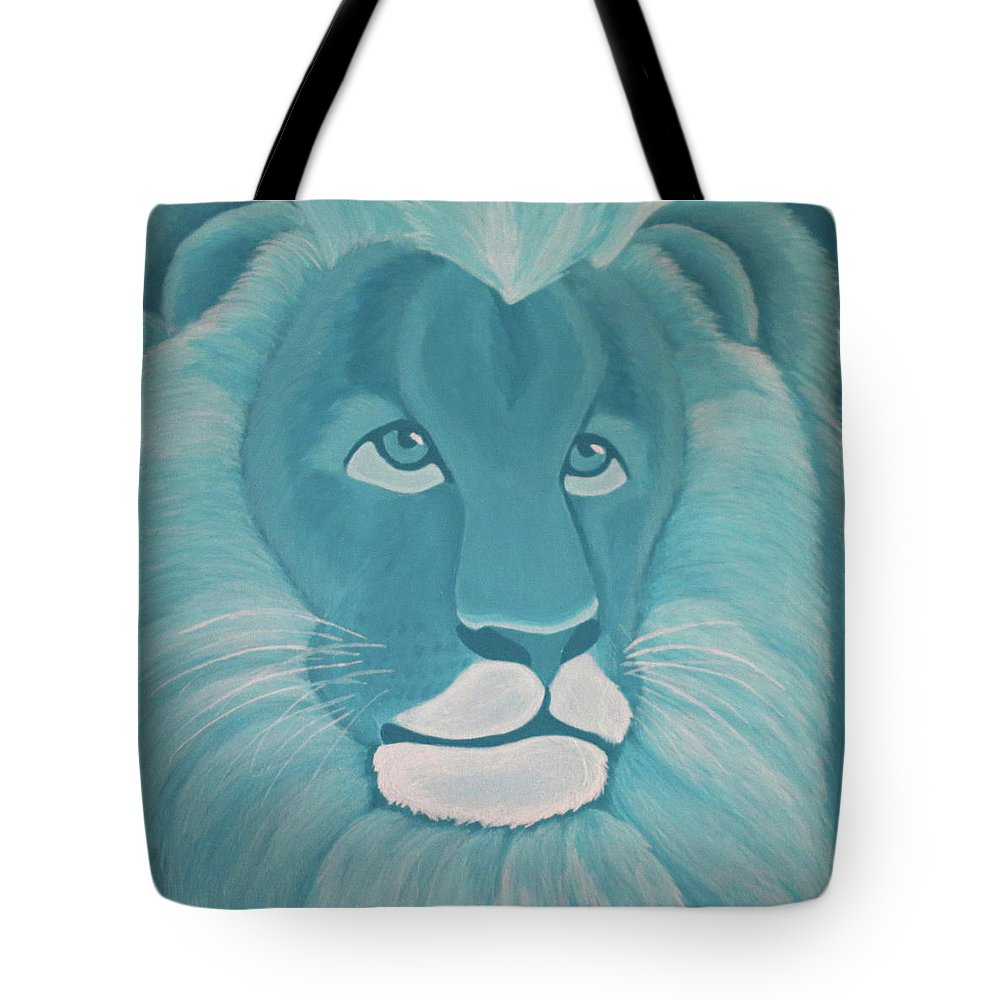 Turquoise Lion Tote Bag