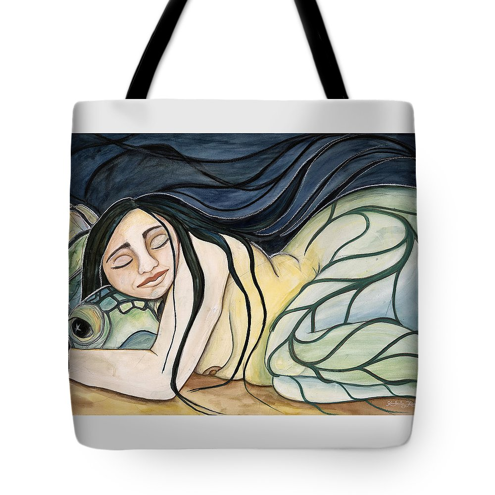 Woman Tote Bag featuring the painting Turtle Daughter by Kimberly Kirk