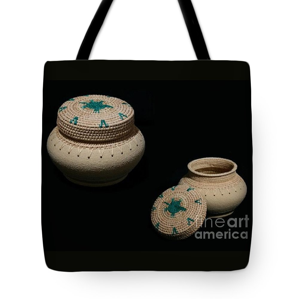 Clay Tote Bag featuring the mixed media Turtle In The Pond Clay Basket by Darlene Ryer