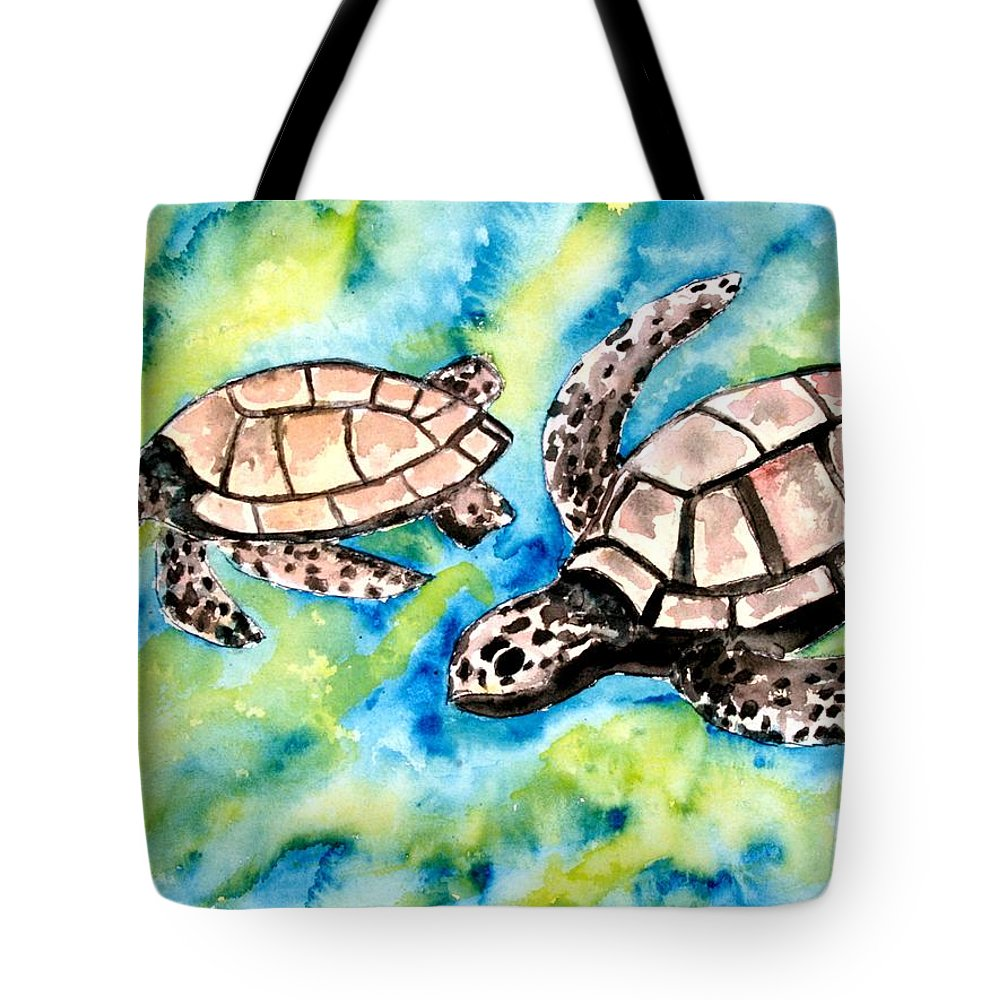 Love Tote Bag featuring the painting Turtle Love Pair Of Sea Turtles by Derek Mccrea