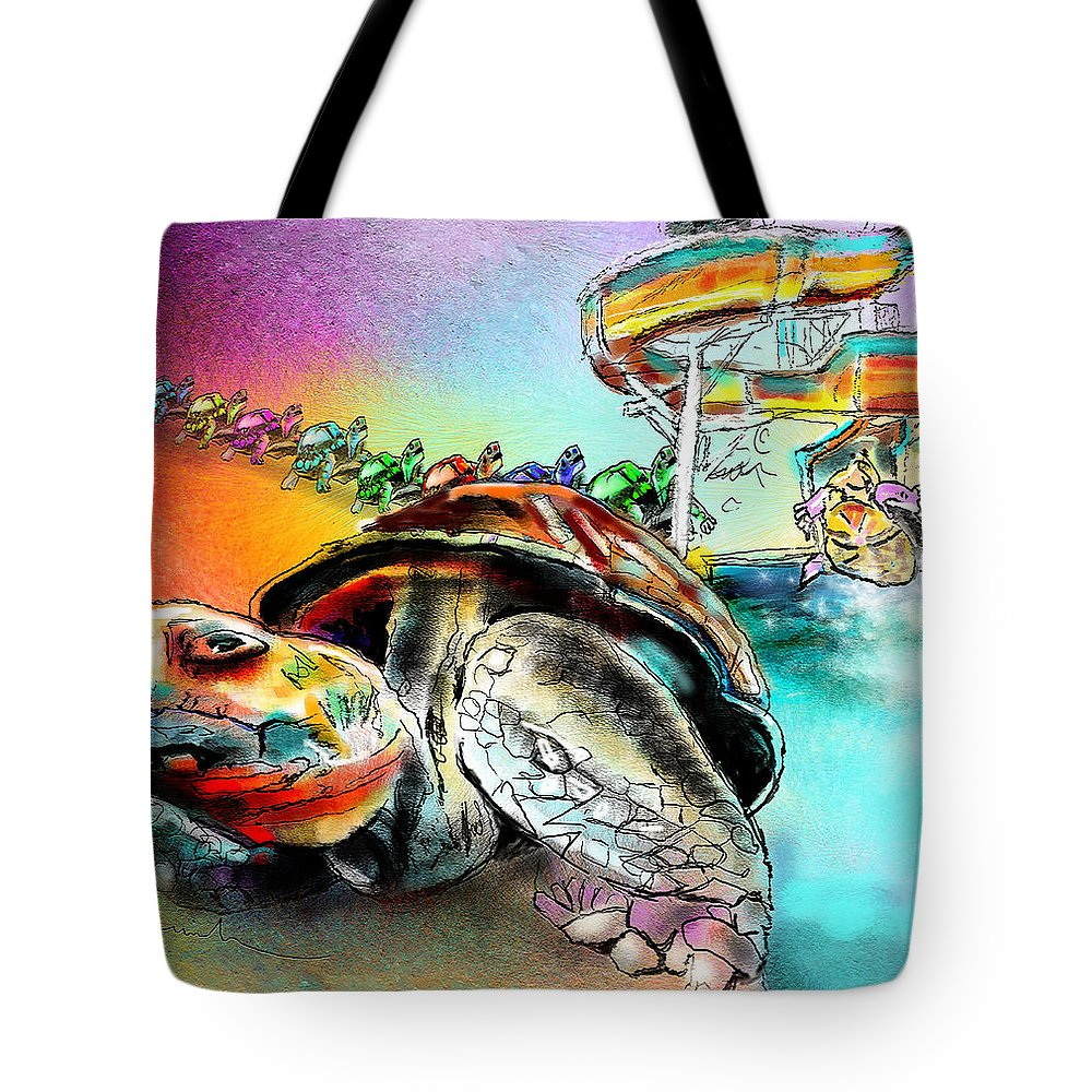 Turtle Tote Bag featuring the painting Turtle Slide by Miki De Goodaboom