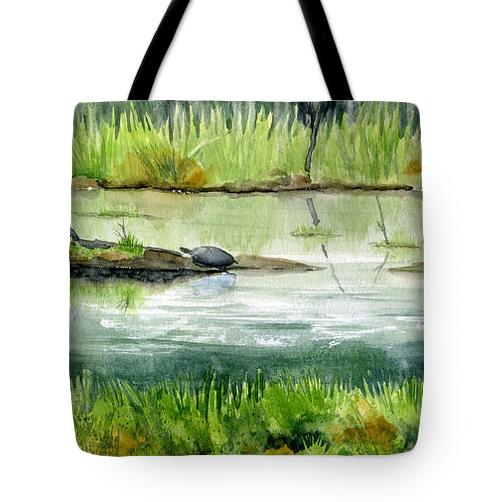 Turtle Tote Bag featuring the painting Turtles by Mary Tuomi