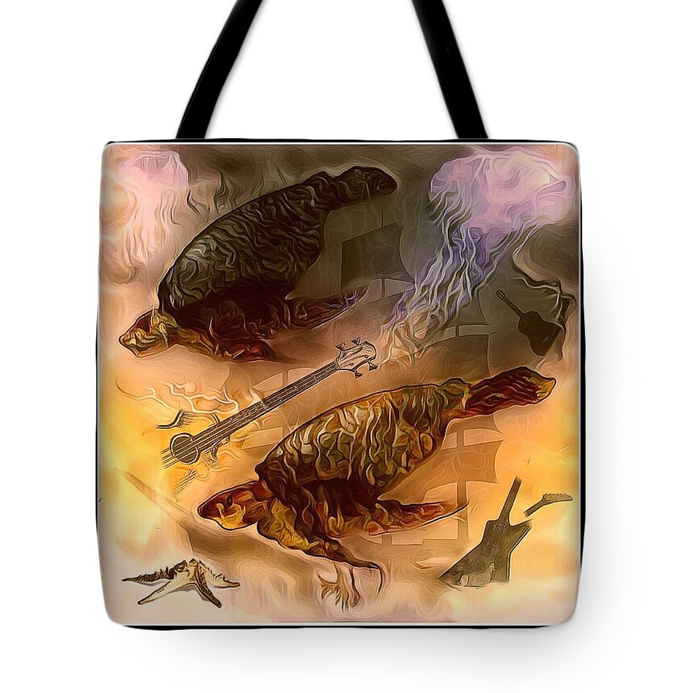 Surreal Mixed Media Sea Life Tote Bag featuring the mixed media Turtles Play Yard by Patricia DOYLE Olson