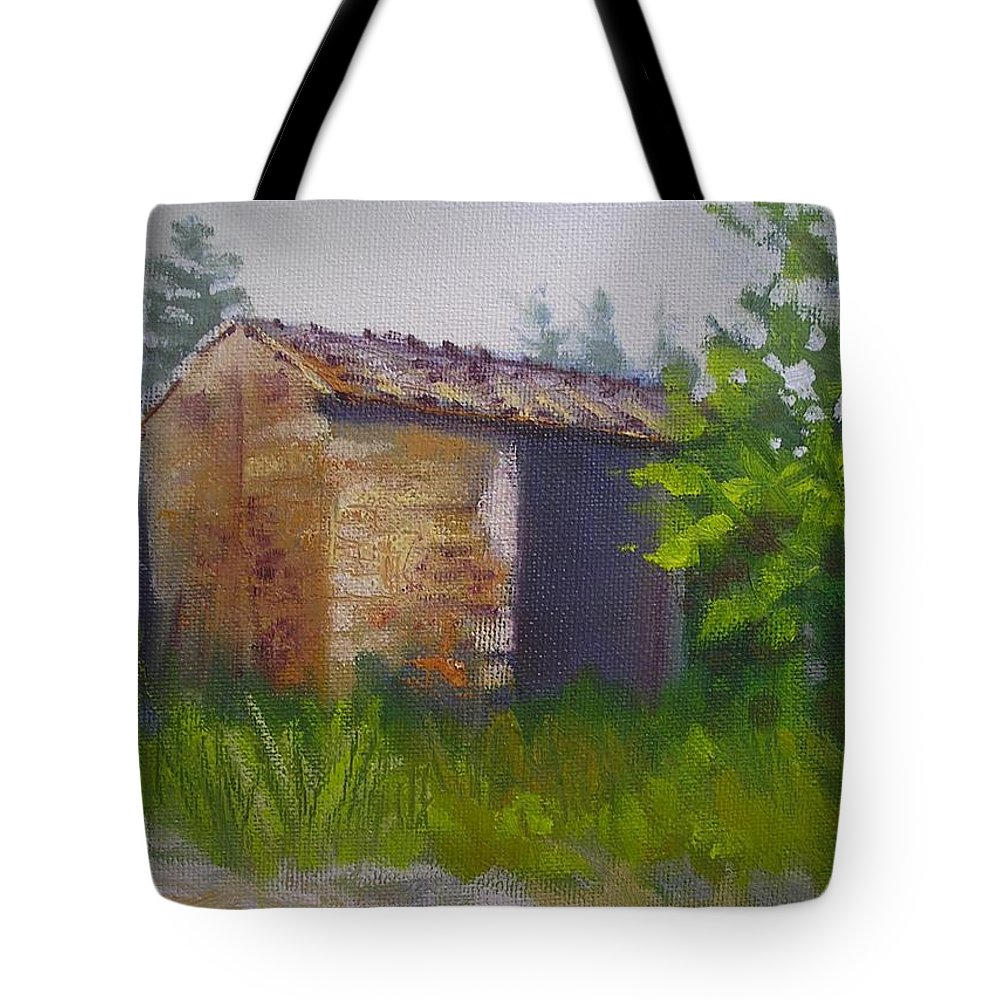 Rural Painting Tote Bag featuring the painting Tuscan Abandoned Farm Shed by Chris Hobel