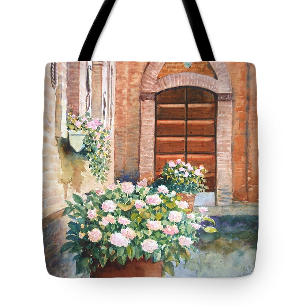 Tuscan Tote Bag featuring the painting Tuscan Courtyard by Ann Cockerill