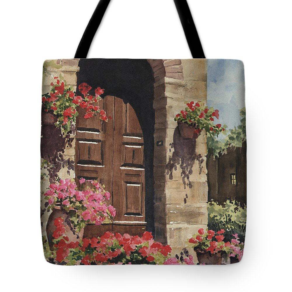 Flowers Tote Bag featuring the painting Tuscan Door by Sam Sidders