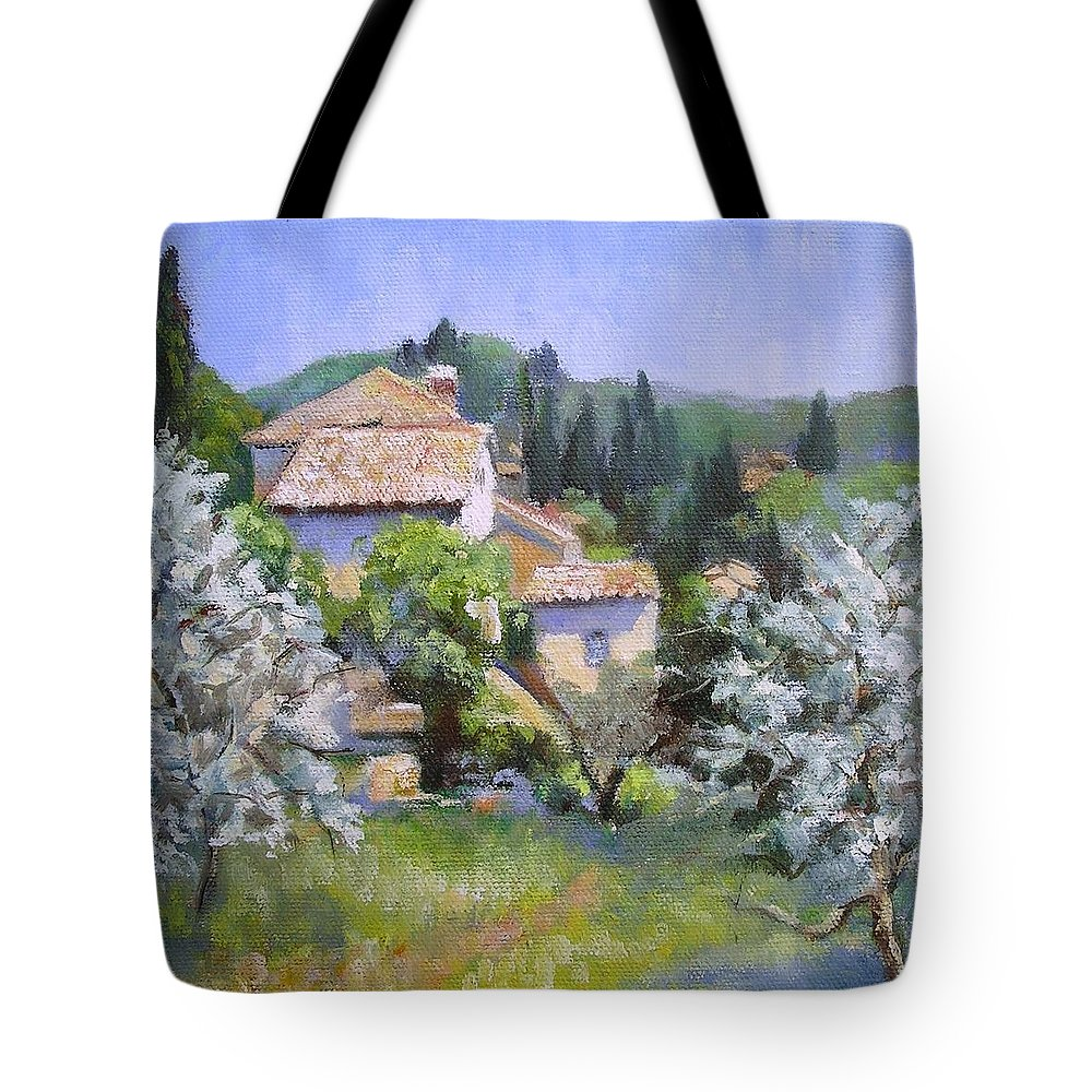Landscape Tote Bag featuring the painting Tuscan Hilltop Village by Chris Hobel