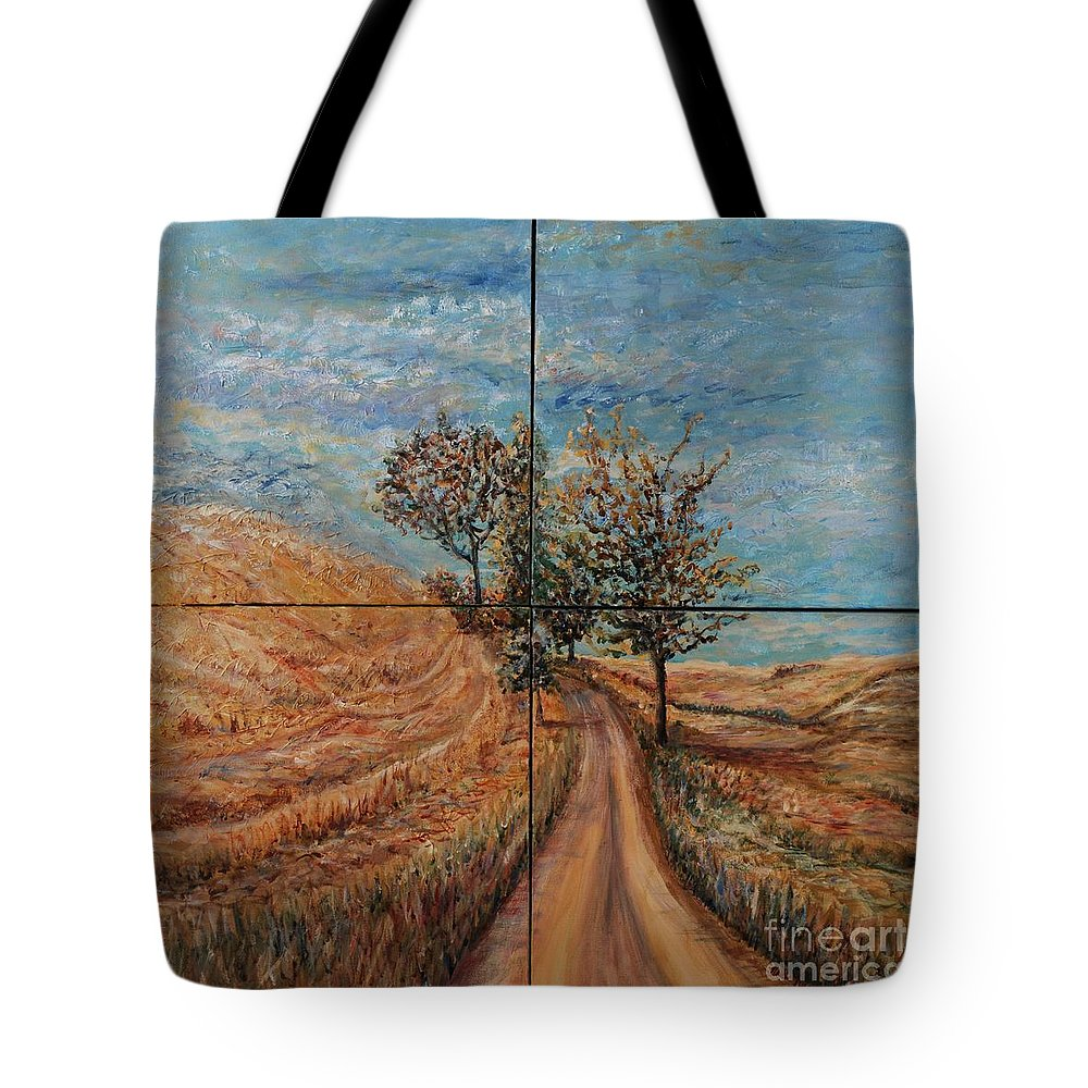 Landscape Tote Bag featuring the painting Tuscan Journey by Nadine Rippelmeyer