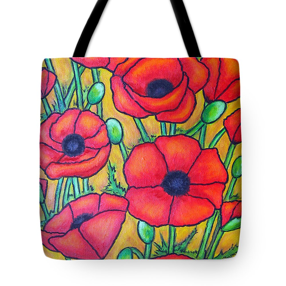Poppies Tote Bag featuring the painting Tuscan Poppies - Crop 1 by Lisa Lorenz
