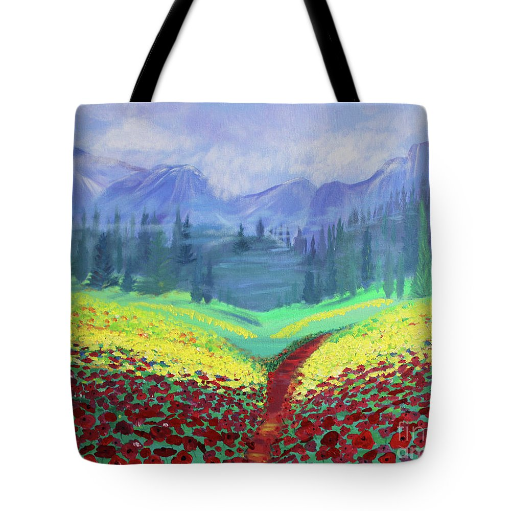 Poppies Tote Bag featuring the painting Tuscan Poppies by Stacey Zimmerman